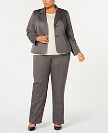 Plus Size Pinstripe Two-Button Pant Suit