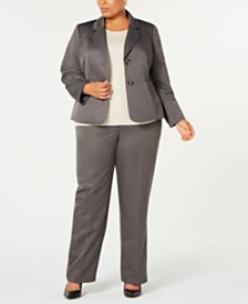 Le Suit Plus Size Pinstripe Two-Button Pant Suit
