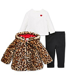 Baby Girls 3-Pc. Leopard-Print Faux-Fur Jacket, Heart Top & Pants Set