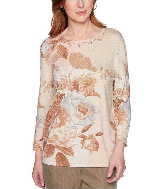 Alfred Dunner Petite Boardroom Floral-Print Embellished Sweater