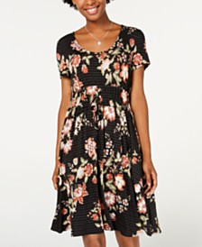 American Rag Juniors' Printed Drawstring-Waist Dress, Created for Macy's
