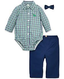 Baby Boys 3-Pc. Cotton Bowtie, Plaid Dinosaur Bodysuit & Pants Set