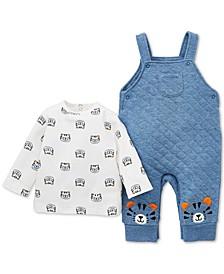 Baby Boys 2-Pc. Cotton Tiger-Print T-Shirt & Overalls Set