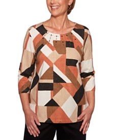 Alfred Dunner Petite Geo-Print Embellished Sweater