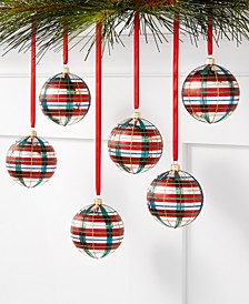 Christmas Cheer Set of 6 Shatterproof Red, Gold and Green Plaid Pattern Ornaments, Created for Macy's