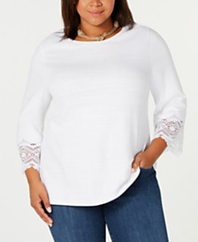 Charter Club Plus Size Lace-Cuff Cotton T-Shirt, Created for Macy's