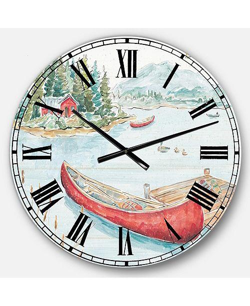 Designart Lake House Oversized Metal Wall Clock