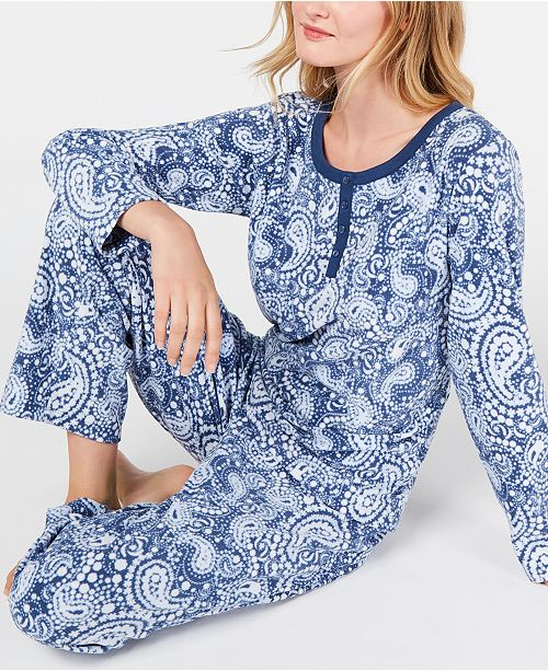 Charter Club Women's Petite Super Soft Textured Fleece Pajamas, Created for Macy's