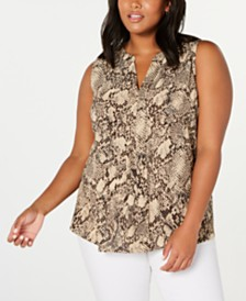 Monteau Trendy Plus Size Animal-Print Top