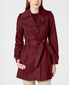 Hooded Double Collar Belted Water-Resistant Raincoat, Created for Macy's