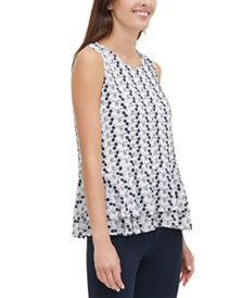 Tommy Hilfiger Embroidered Ruffled Top