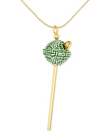 18K Gold over Sterling Silver Necklace, Medium Lime Green Crystal Lollipop Pendant