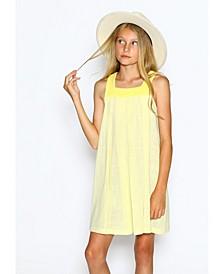 Little Girls A-Line Dress with Neckline Yoke Detail