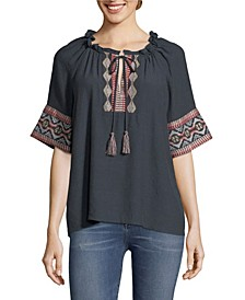 Embroidered Peasant Blouse, Petite