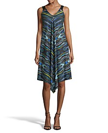 Printed Point Hem Dress, Petite