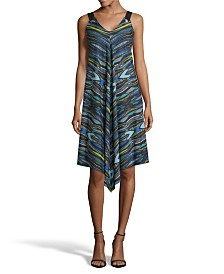 John Paul Richard Printed Point Hem Dress, Petite