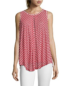 John Paul Richard Sleeveless Burnout Stripe Top, Petite