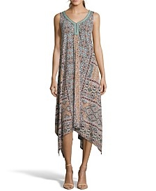 John Paul Richard Printed Knit Dress with Neck Trim