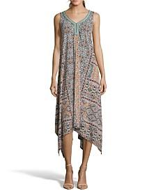 John Paul Richard Printed Knit Dress with Neck Trim