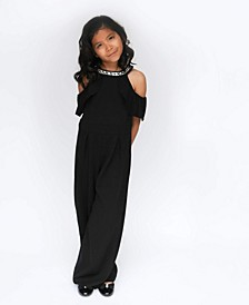 Big Girls Ruffle Front Cold Shoulder Jumpsuit