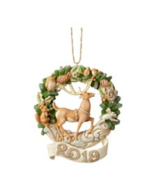 Jim Shore White Woodland Dated 2019 Deer Ornament
