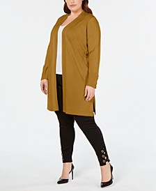 Plus Size Lace-Up-Cuff Duster Cardigan, Created for Macy's