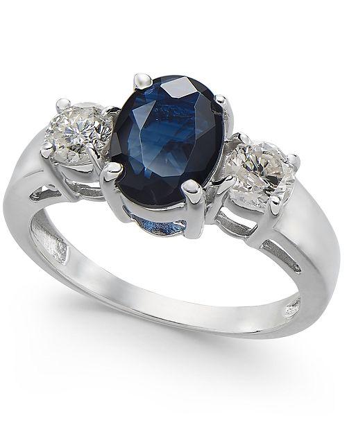 Macy's Sapphire (1-5/8 ct. t.w.) & Diamond (3/8 ct. t.w.) Ring in 14k White Gold