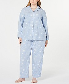 Plus Size Printed Fleece Pajamas Set, Created for Macy's
