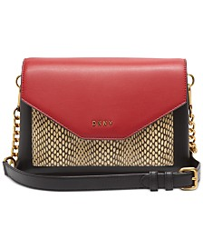 DKNY Alexa Leather Colorblock Flap Crossbody, Created for Macy's