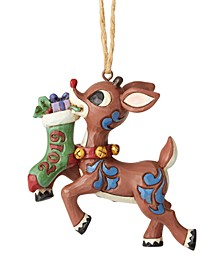 Jim Shore Rudolph with Stocking Dated 2019 Ornament