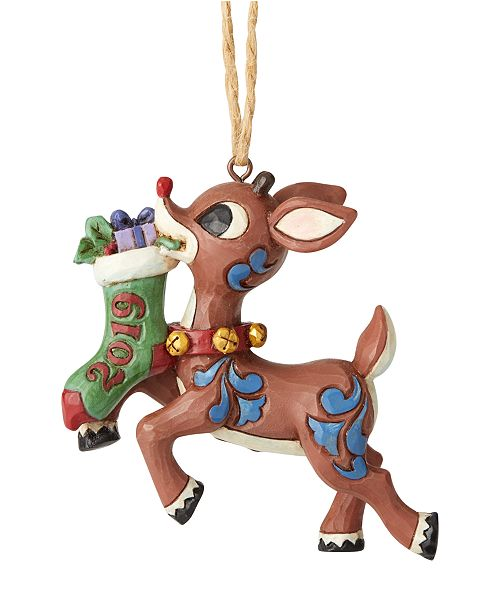 Enesco Jim Shore Rudolph with Stocking Dated 2019 Ornament