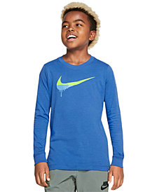 Nike Big Boys Novelty Swoosh Graphic Long Sleeve T-Shirt