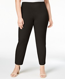 Charter Club Plus Size Chelsea Tummy-Control Skinny Leg Pull-On Ankle Pants, Created for Macy's
