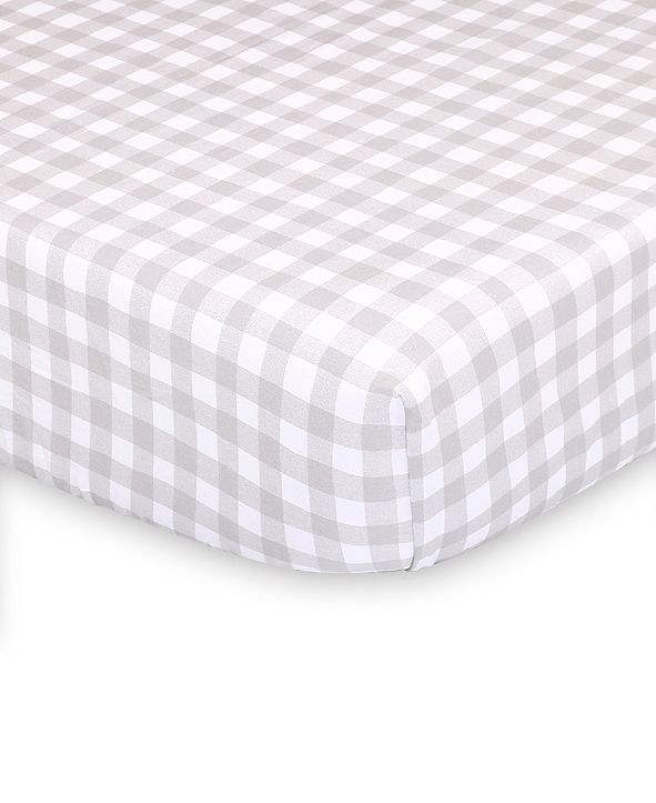 The Peanutshell Farmhouse Check Fitted Crib Sheet