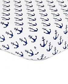 Navy Anchor Print Cotton Fitted Crib Sheet