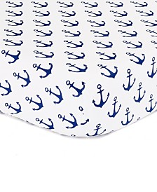 The Peanutshell Navy Anchor Print Cotton Fitted Crib Sheet