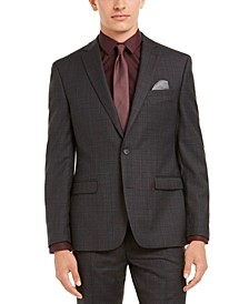 Men's Slim-Fit Gray Plaid Suit Separate Jacket, Created for Macy's