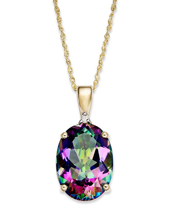 Macy's Mystic Topaz (7-1/3 ct. t.w.) and Diamond Accent Oval Pendant Necklace in 14k Gold (Also Available in Blue Topaz)