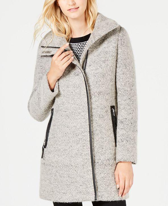 Calvin Klein Petite Faux-Leather-Trim Bouclé Coat