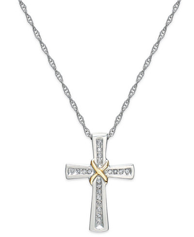 Diamond Cross X Pendant Necklace in Sterling Silver and 14k Gold (1/10 ct. t.w.)