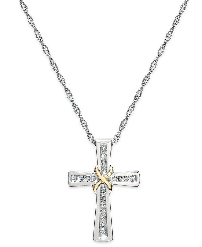 Macy's Diamond Cross X Pendant Necklace in Sterling Silver and 14k Gold (1/10 ct. t.w.)