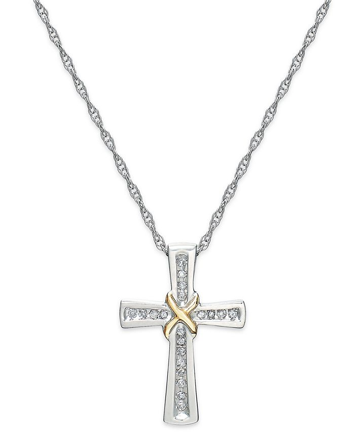 Macy's - Diamond Cross X Pendant Necklace in Sterling Silver and 14k Gold (1/10 ct. t.w.)