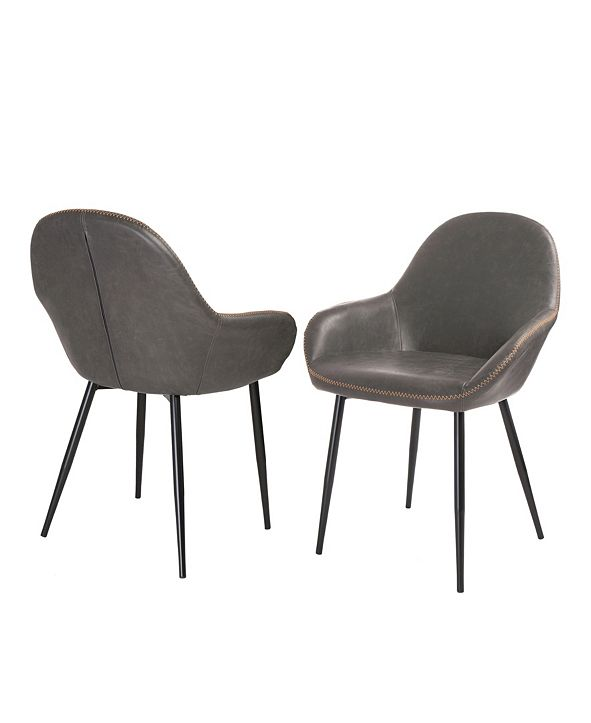 Glitzhome Mid-Century Modern Vintage Leatherette Dining Arm Chair Set of 2