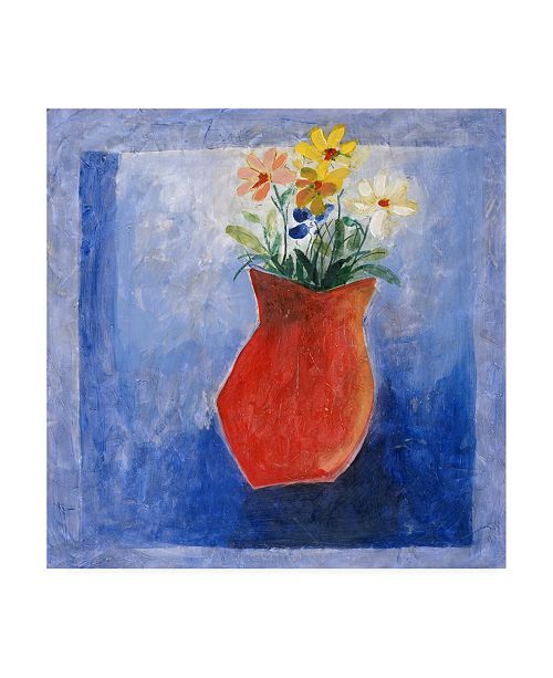 "Trademark Global Pablo Esteban Orange Flower Vase Canvas Art - 36.5"" x 48"""