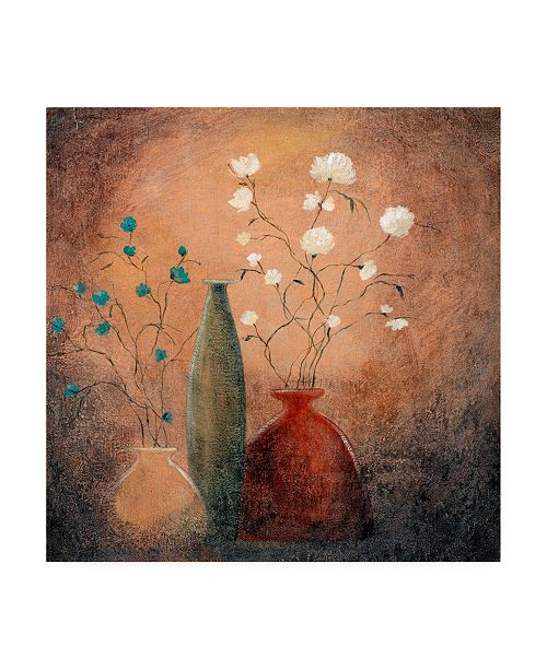 "Trademark Global Pablo Esteban Three Vases and Flowers Canvas Art - 15.5"" x 21"""
