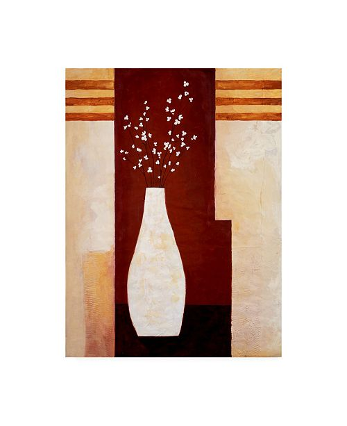 "Trademark Global Pablo Esteban Slender White Vase and Flowers Canvas Art - 27"" x 33.5"""