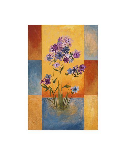 "Trademark Global Pablo Esteban Purple and Blue Flowers on Squares Canvas Art - 27"" x 33.5"""