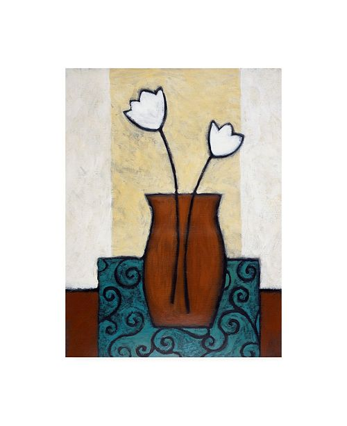 "Trademark Global Pablo Esteban Flowers in Brown Vase and Blue Mat Canvas Art - 19.5"" x 26"""