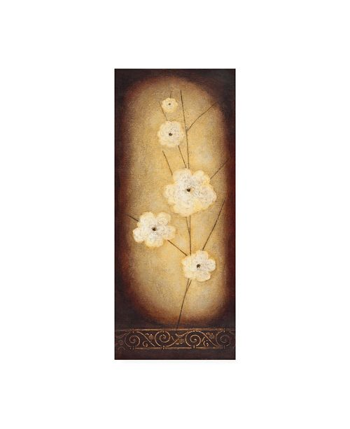 "Trademark Global Pablo Esteban Large White Flowers in Circle Canvas Art - 19.5"" x 26"""