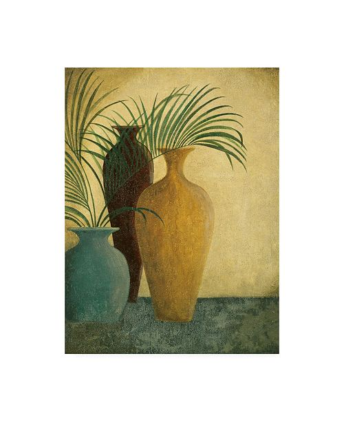 "Trademark Global Pablo Esteban Three Vases Two with Greenery Canvas Art - 36.5"" x 48"""